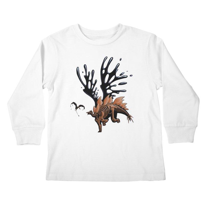 Stegosaurus Tar & Feathered Kids Longsleeve T-Shirt by Crab Saw Apparel