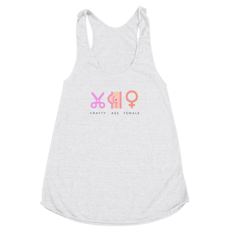 Peach in Women's Racerback Triblend Tank Heather White by Crafty Ass Female's Merch Shop