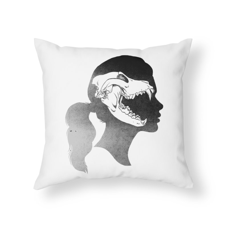 Wolf Girl Home Throw Pillow by craighorky's Shop