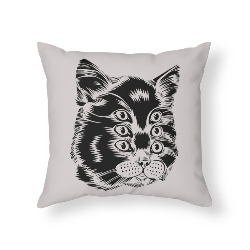 6 eyed cat Home Throw Pillow by craighorky's Shop