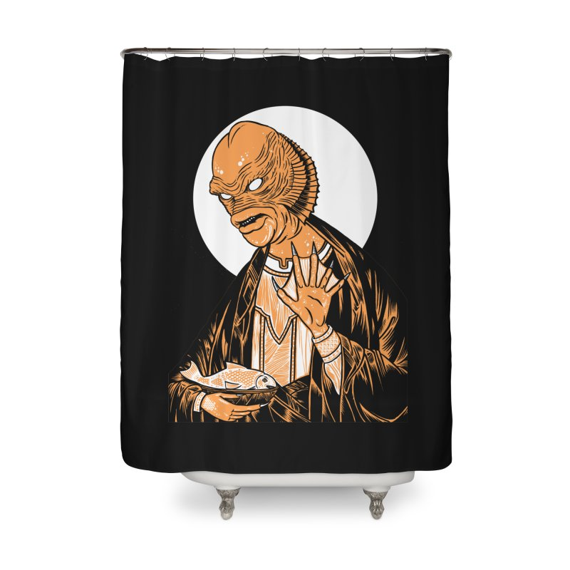 Saint Gillman, Patron Saint of the Black Lagoon Home Shower Curtain by craighorky's Shop