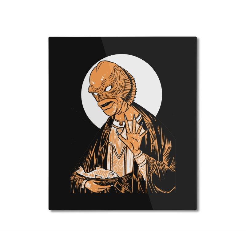 Saint Gillman, Patron Saint of the Black Lagoon Home Mounted Aluminum Print by craighorky's Shop