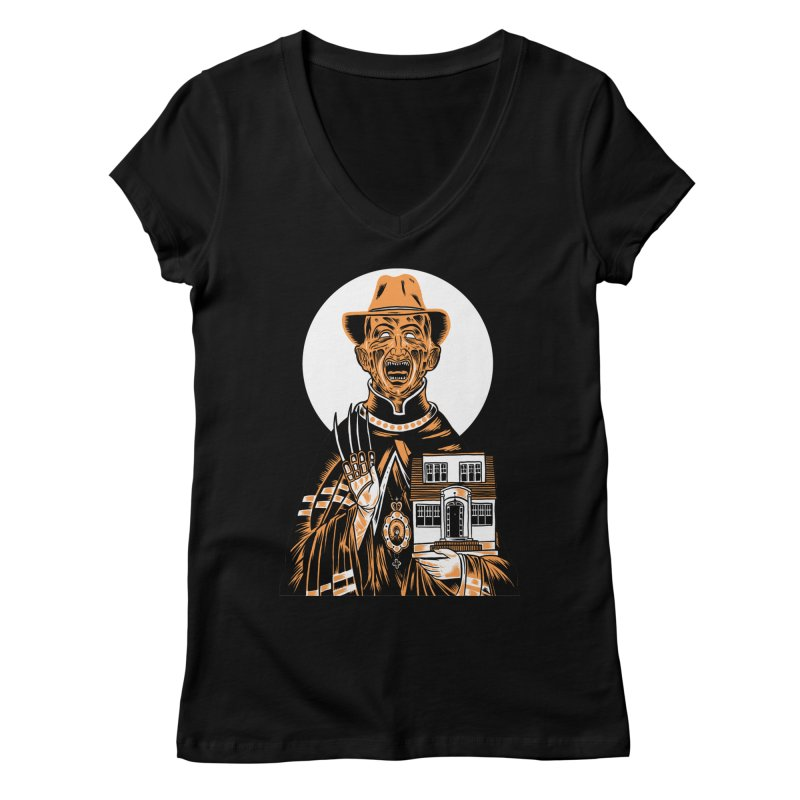 St. Freddy, Patron Saint of Nightmares Women's V-Neck by craighorky's Shop