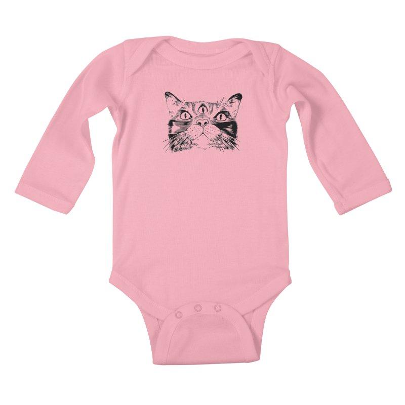 three eyed cat Kids Baby Longsleeve Bodysuit by craighorky's Shop