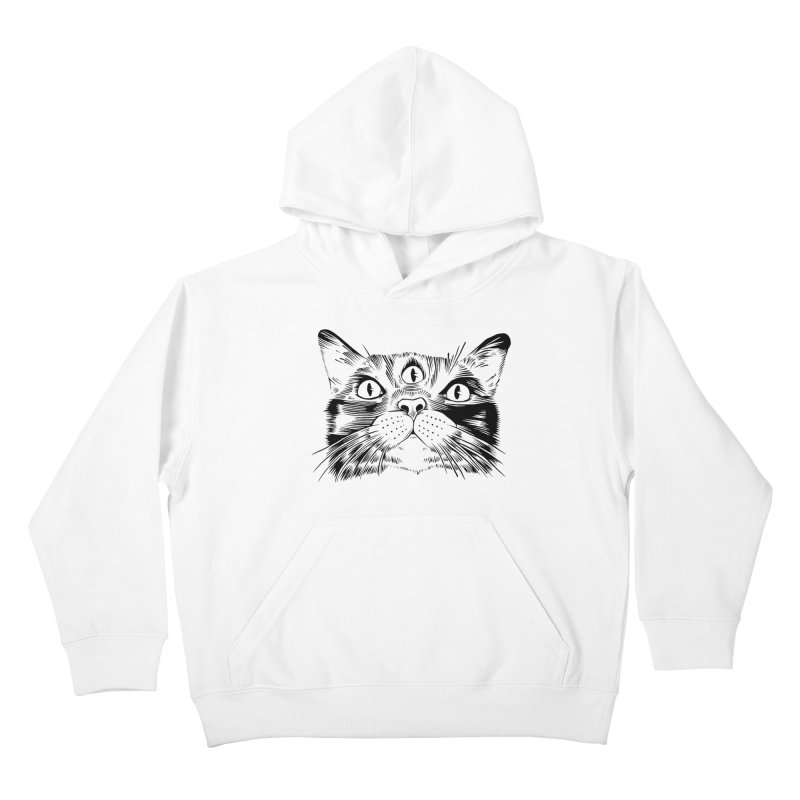 three eyed cat Kids Pullover Hoody by craighorky's Shop