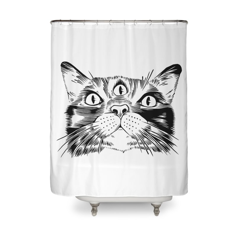 three eyed cat Home Shower Curtain by craighorky's Shop