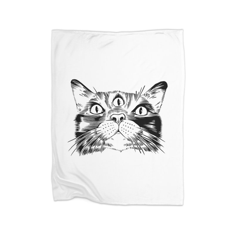 three eyed cat Home Blanket by craighorky's Shop