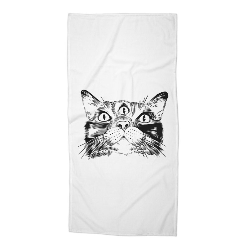 three eyed cat Accessories Beach Towel by craighorky's Shop