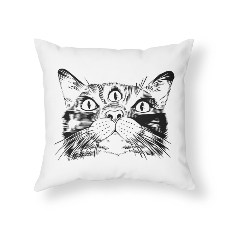 three eyed cat Home Throw Pillow by craighorky's Shop