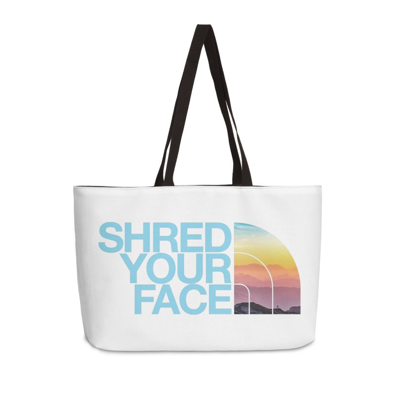 Shred Your Face (Blu) Accessories Weekender Bag Bag by CRANK. outdoors + music lifestyle clothing
