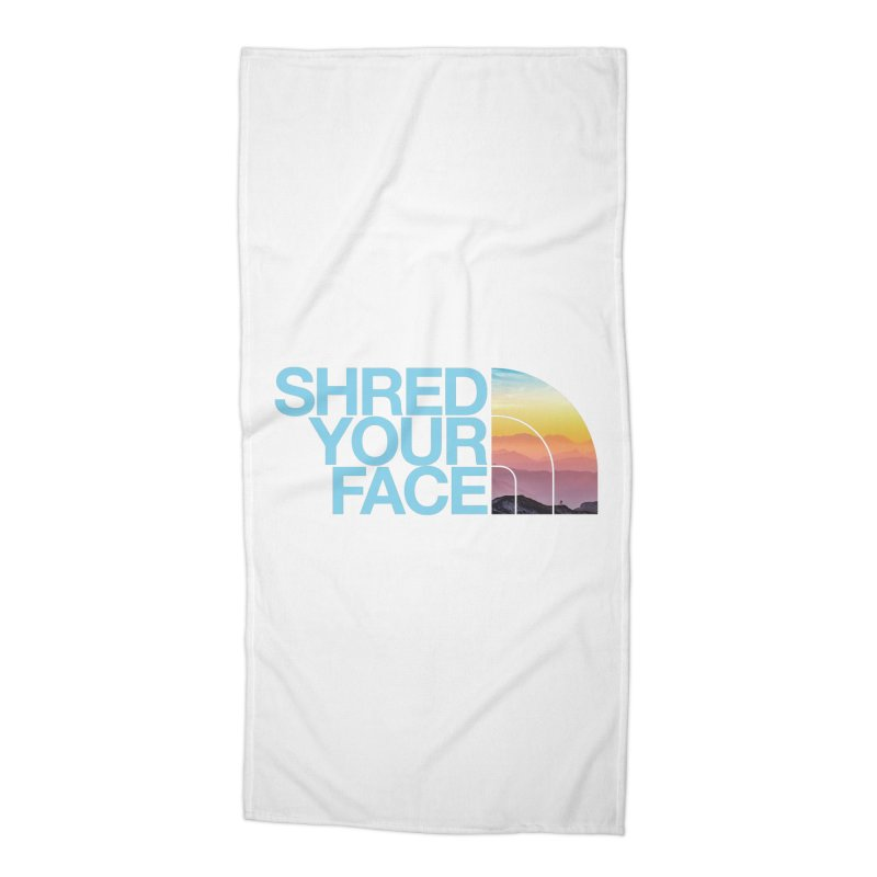 Shred Your Face (Blu) Accessories Beach Towel by CRANK. outdoors + music lifestyle clothing
