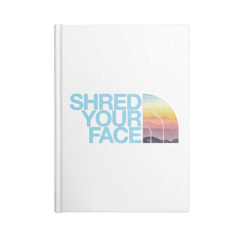 Shred Your Face (Blu) Accessories Lined Journal Notebook by CRANK. outdoors + music lifestyle clothing
