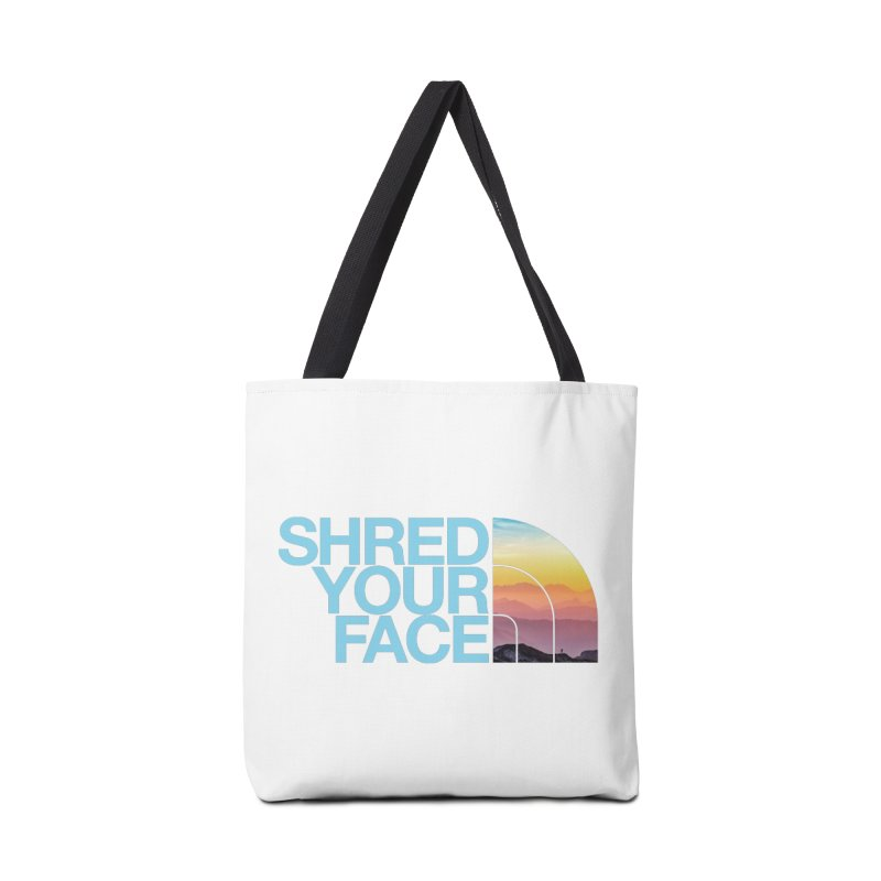 Shred Your Face (Blu) in Tote Bag by CRANK. outdoors + music lifestyle clothing
