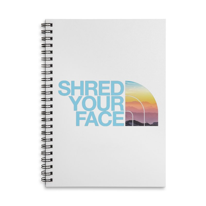 Shred Your Face (Blu) Accessories Lined Spiral Notebook by CRANK. outdoors + music lifestyle clothing