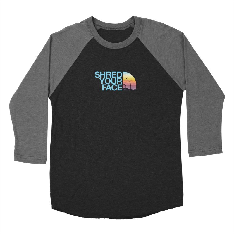 Shred Your Face (Blu) Women's Longsleeve T-Shirt by CRANK. outdoors + music lifestyle clothing