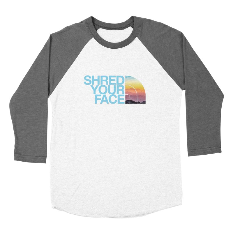 Shred Your Face (Blu) Men's Baseball Triblend Longsleeve T-Shirt by CRANK. outdoors + music lifestyle clothing