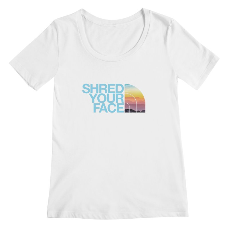 Shred Your Face (Blu) Women's Regular Scoop Neck by CRANK. outdoors + music lifestyle clothing