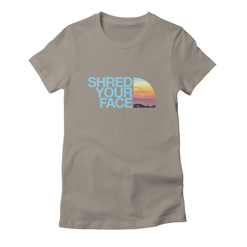 Shred Your Face (Blu) Women's T-Shirt by CRANK. outdoors + music lifestyle clothing