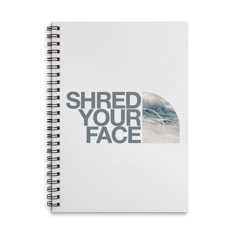 Shred Your Face (grey) Accessories Lined Spiral Notebook by CRANK. outdoors + music lifestyle clothing