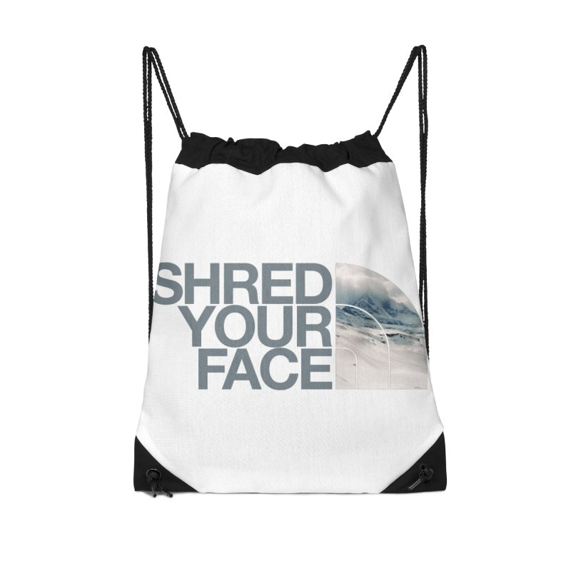 Shred Your Face (grey) Accessories Drawstring Bag Bag by CRANK. outdoors + music lifestyle clothing