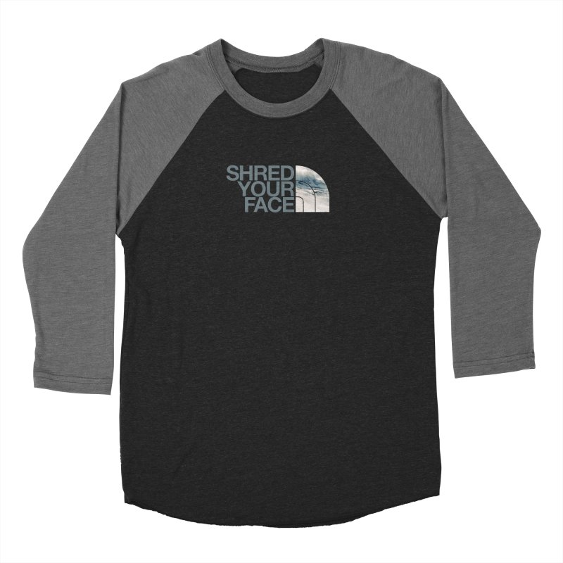 Shred Your Face (grey) Men's Baseball Triblend Longsleeve T-Shirt by CRANK. outdoors + music lifestyle clothing