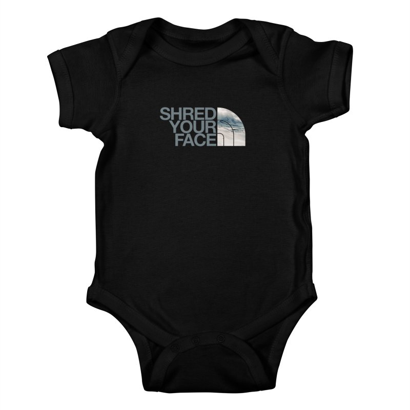 Shred Your Face (grey) Kids Baby Bodysuit by CRANK. outdoors + music lifestyle clothing