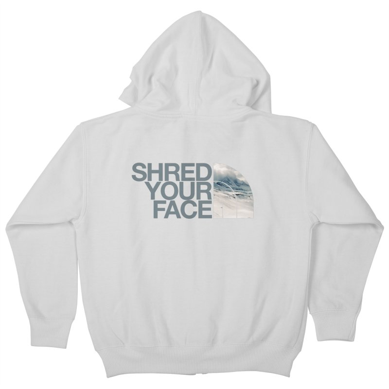 Shred Your Face (grey) Kids Zip-Up Hoody by CRANK. outdoors + music lifestyle clothing