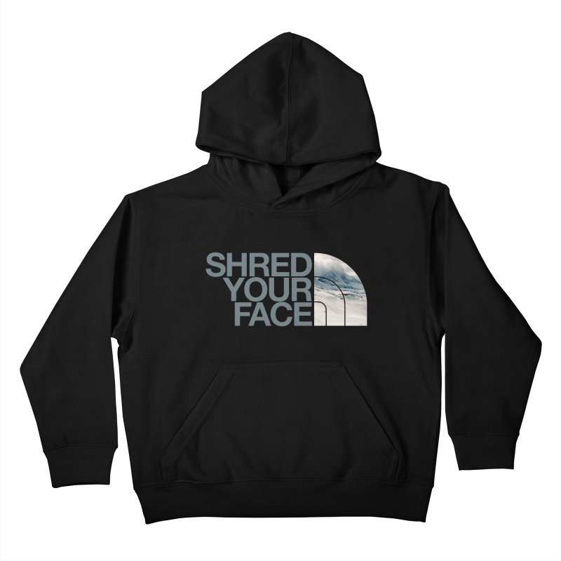 Shred Your Face (grey) Kids Pullover Hoody by CRANK. outdoors + music lifestyle clothing