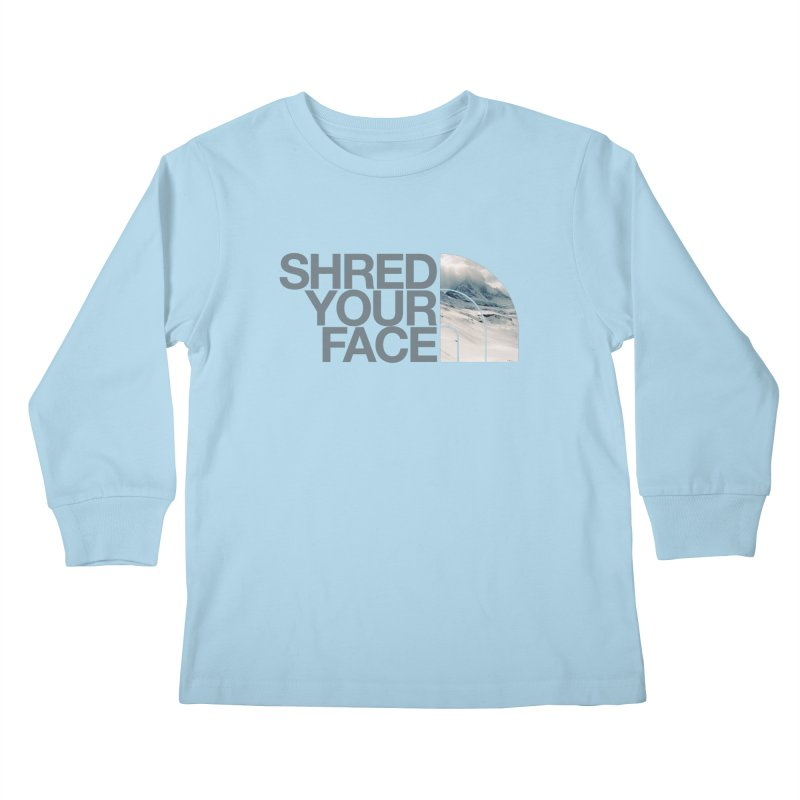 Shred Your Face (grey) Kids Longsleeve T-Shirt by CRANK. outdoors + music lifestyle clothing