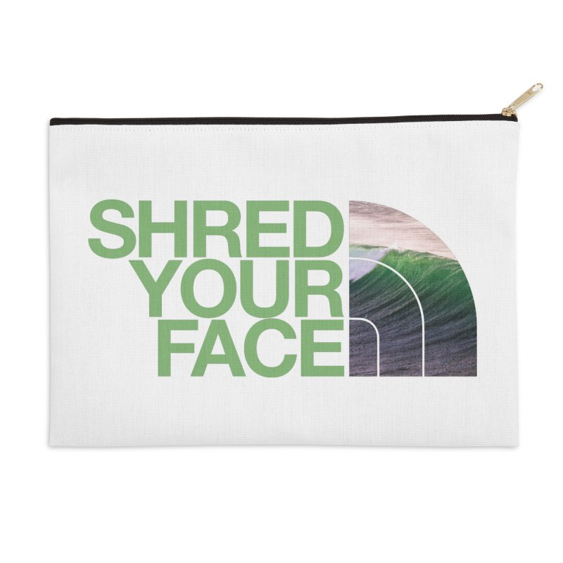 Shred Your Face (green) Accessories Zip Pouch by CRANK. outdoors + music lifestyle clothing