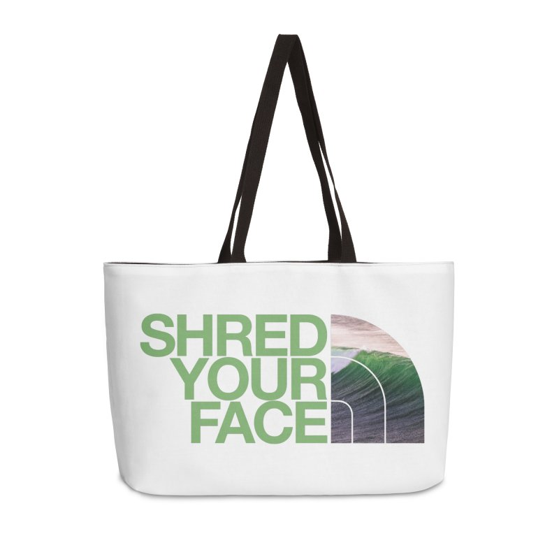 Shred Your Face (green) Accessories Weekender Bag Bag by CRANK. outdoors + music lifestyle clothing