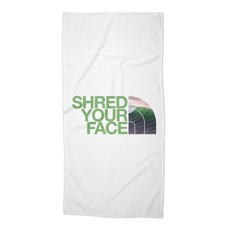 Shred Your Face (green) Accessories Beach Towel by CRANK. outdoors + music lifestyle clothing