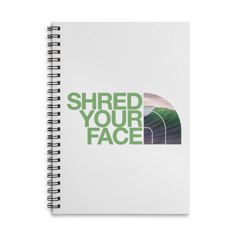 Shred Your Face (green) Accessories Lined Spiral Notebook by CRANK. outdoors + music lifestyle clothing