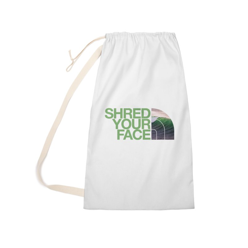 Shred Your Face (green) Accessories Laundry Bag Bag by CRANK. outdoors + music lifestyle clothing