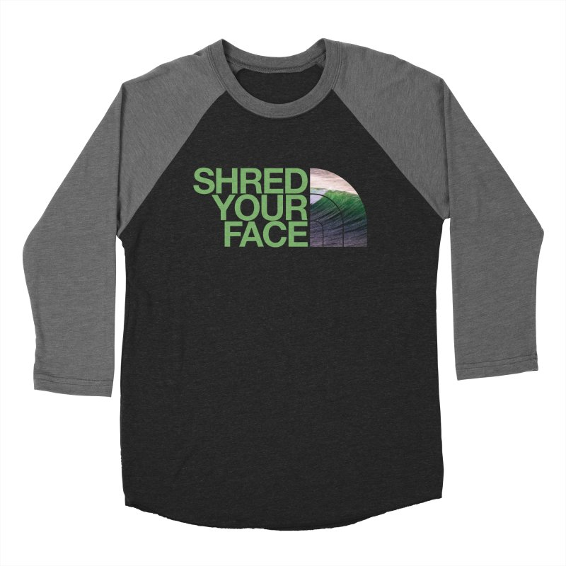 Shred Your Face (green) in Men's Baseball Triblend Longsleeve T-Shirt Grey Triblend Sleeves by CRANK. outdoors + music lifestyle clothing