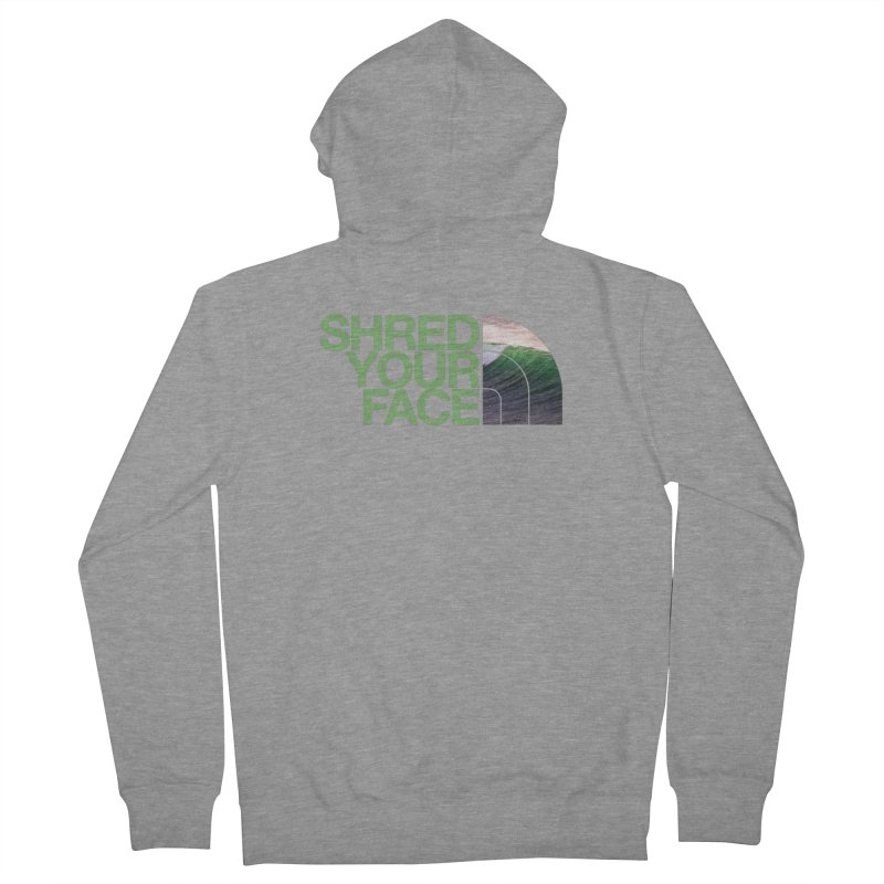 Shred Your Face (green) Women's French Terry Zip-Up Hoody by CRANK. outdoors + music lifestyle clothing