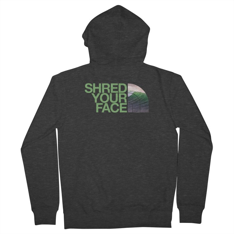 Shred Your Face (green) Men's French Terry Zip-Up Hoody by CRANK. outdoors + music lifestyle clothing