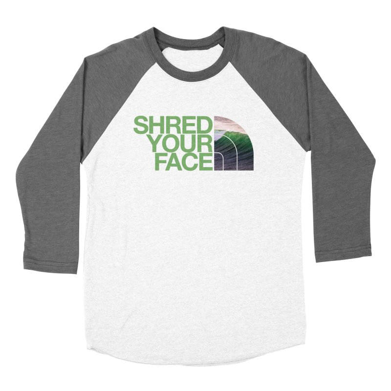 Shred Your Face (green) Men's Baseball Triblend Longsleeve T-Shirt by CRANK. outdoors + music lifestyle clothing