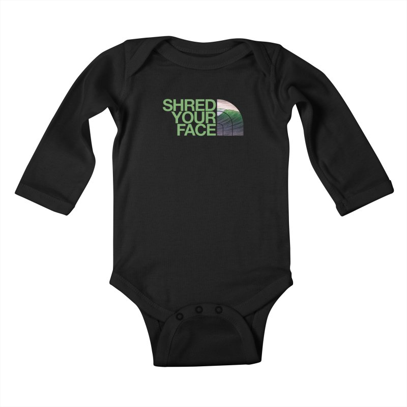 Shred Your Face (green) Kids Baby Longsleeve Bodysuit by CRANK. outdoors + music lifestyle clothing