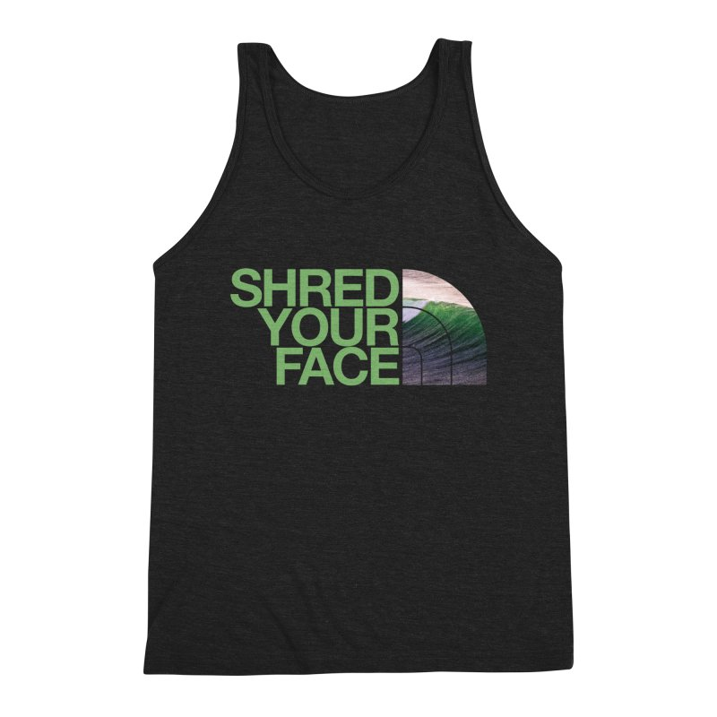 Shred Your Face (green) Men's Triblend Tank by CRANK. outdoors + music lifestyle clothing