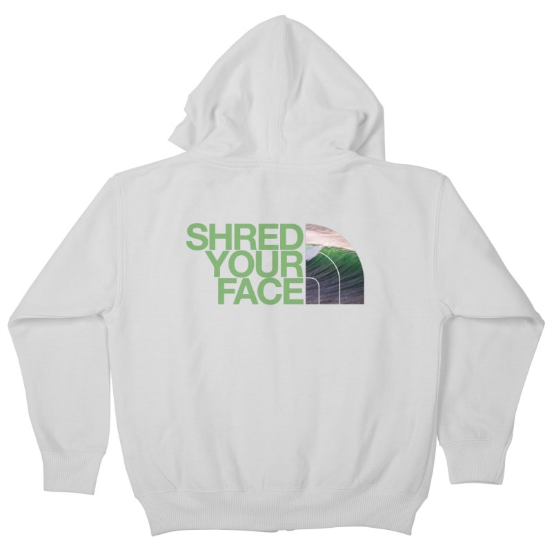 Shred Your Face (green) Kids Zip-Up Hoody by CRANK. outdoors + music lifestyle clothing