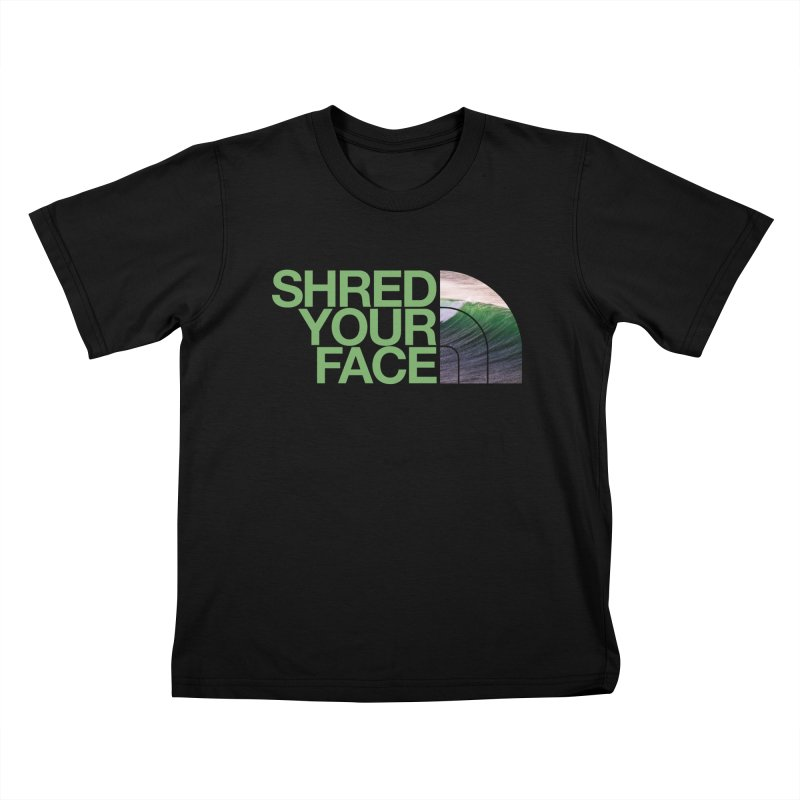 Shred Your Face (green) Kids T-Shirt by CRANK. outdoors + music lifestyle clothing