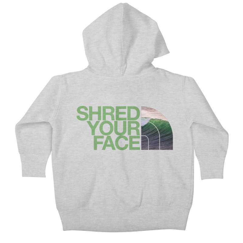 Shred Your Face (green) Kids Baby Zip-Up Hoody by CRANK. outdoors + music lifestyle clothing