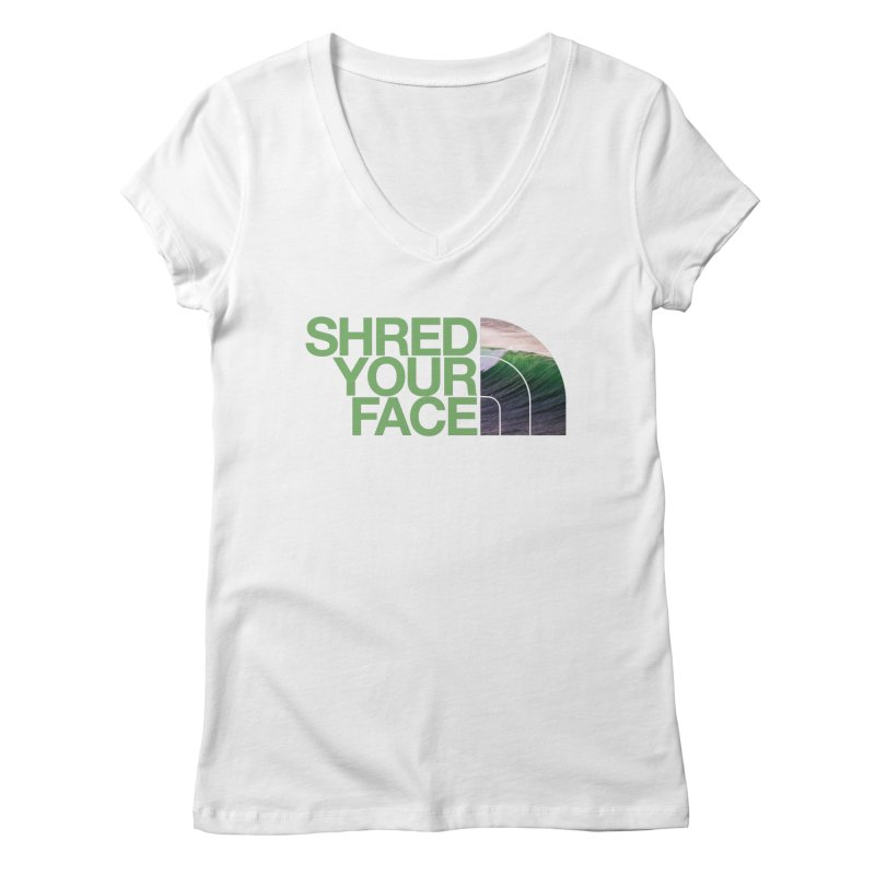 Shred Your Face (green) Women's V-Neck by CRANK. outdoors + music lifestyle clothing