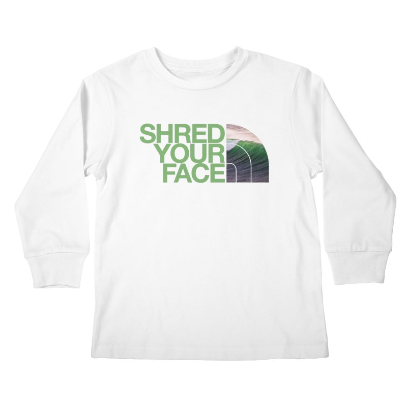 Shred Your Face (green) Kids Longsleeve T-Shirt by CRANK. outdoors + music lifestyle clothing