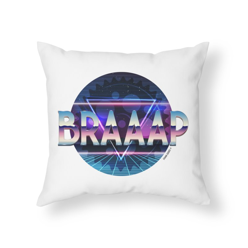 BRAAAP Chrome Home Throw Pillow by CRANK. outdoors + music lifestyle clothing