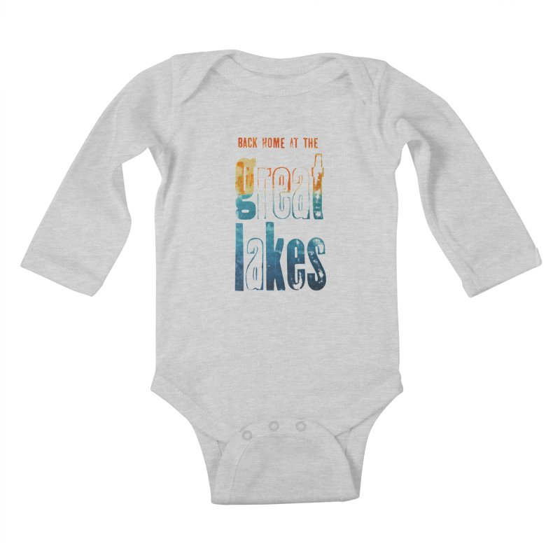 Back Home at the Great Lakes Kids Baby Longsleeve Bodysuit by Crantastic Graphics