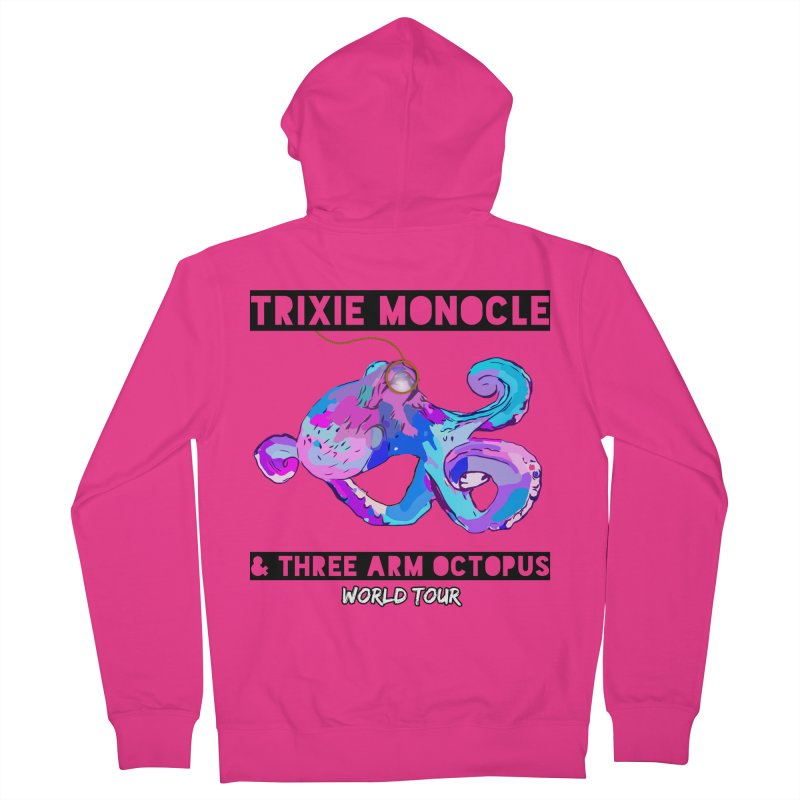 Trixie Monocle and Three Arm Octopus World Tour! Men's French Terry Zip-Up Hoody by Watch What Crappens