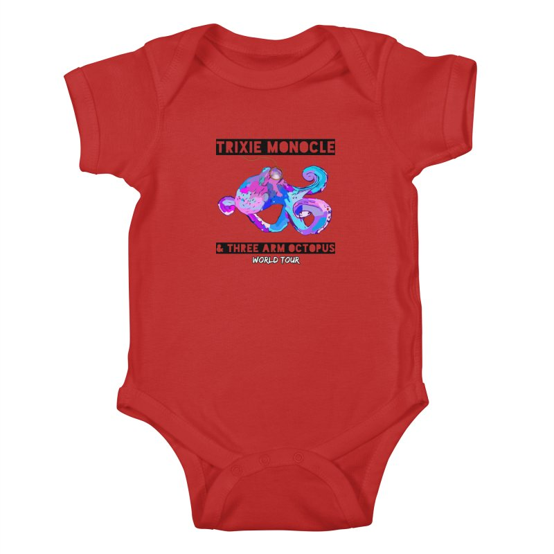 Trixie Monocle and Three Arm Octopus World Tour! Kids Baby Bodysuit by Watch What Crappens