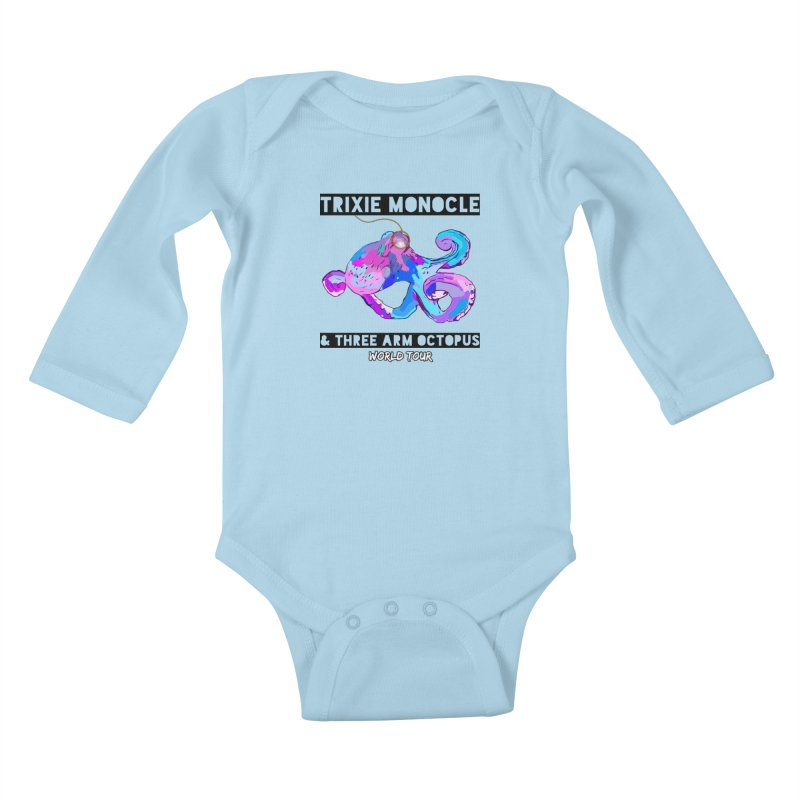 Trixie Monocle and Three Arm Octopus World Tour! Kids Baby Longsleeve Bodysuit by Watch What Crappens